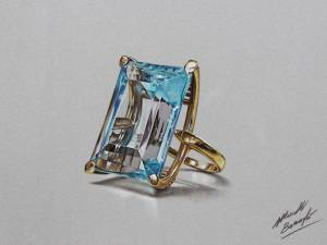 Aquamarine Ring In Yellow Gold Drawing By Marcellobarenghi-d6nnrrt